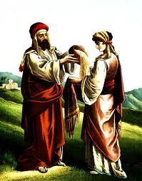 Boaz finds Ruth